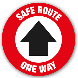 ROUND ANTI-SLIP FLOOR GRAPHIC - 'SAFE ROUTE' ONE WAY ARROW 200MM DIA